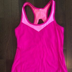 Pink Lucy yoga top with built in bra